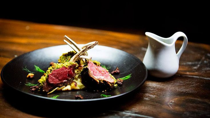 Parmesan and Pistachio Crusted Lamb Rack, Parsnip Puree, Butter Fennel