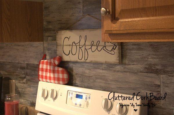 Kitchen Update - Faux Barn Wood Backsplash - Cluttered Corkboard