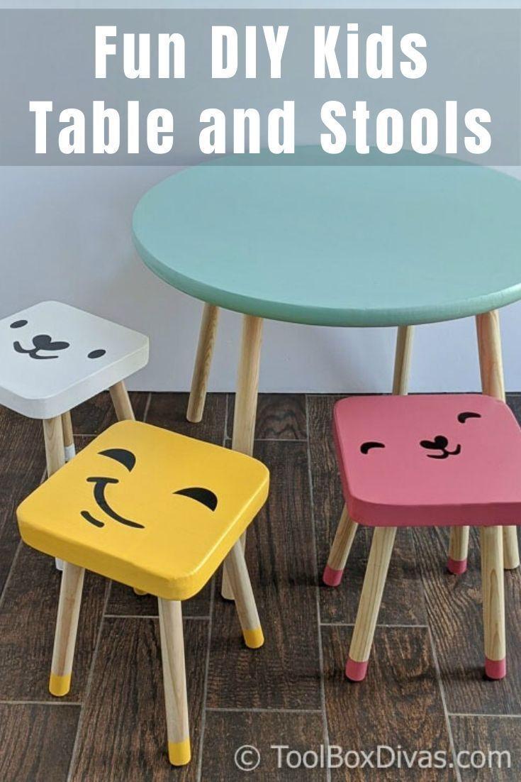 Super Easy Diy Kids Table And Stools Toolbox Divas In 2020 Kinder Tisch Und Stuhle Ideen Zum Selbermachen Fur Kinder Kindertisch Und Stuhle
