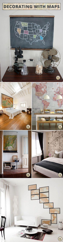decorating with maps via www.inspiredtoshare.com/2012/08/decorating-with-maps/#