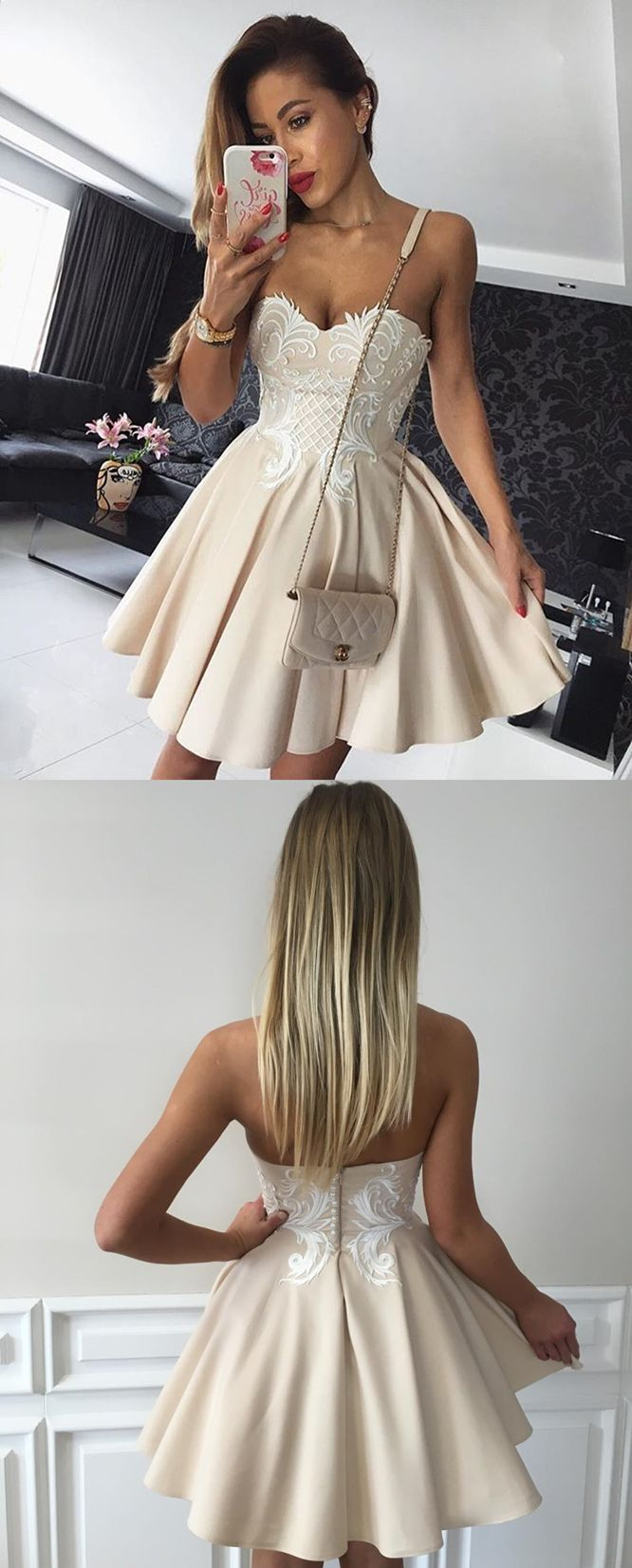 2017 homecoming dresses,beige homecoming dresses,sweetheart homecoming dresses,short party dresses