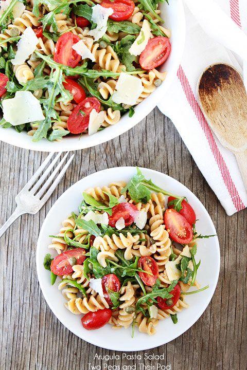 Arugula Whole Wheat Pasta Salad Recipe on twopeasandtheirpod.com