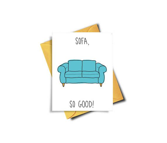 House Warming Card / New Home Owner / Sofa Card / Couch surfing / Thank You Card / So far so good / Funny Card / New Home Card / Congratulations