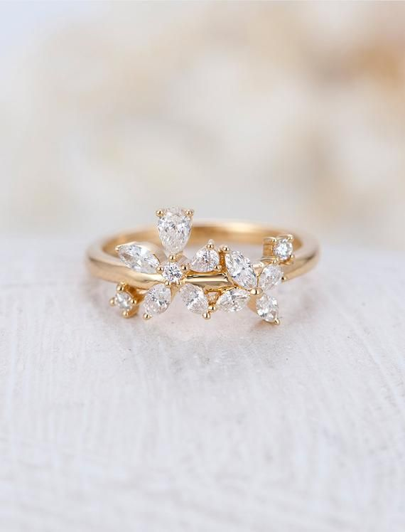 Marquise Shape 14K Solid Gold Ring Promise Gold Ring For Women Fabulous Ring Proposal Ring Gift For Engagement Diamond Cut Gold Ring