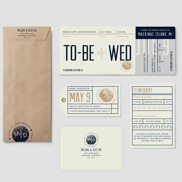 Boarding Pass to Wed from Pixie - Custom Wedding Invitations and Save the Dates