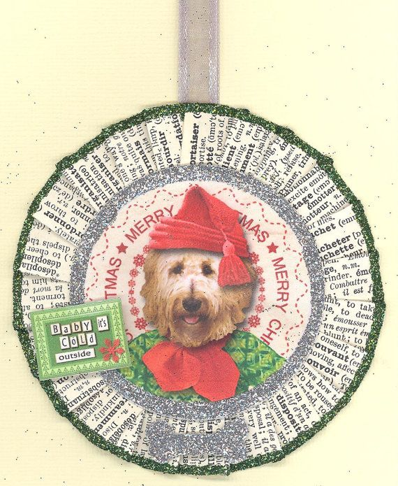 Goldendoodle Golden Doodle Dog Christmas by ONEINTHREEWOMEN