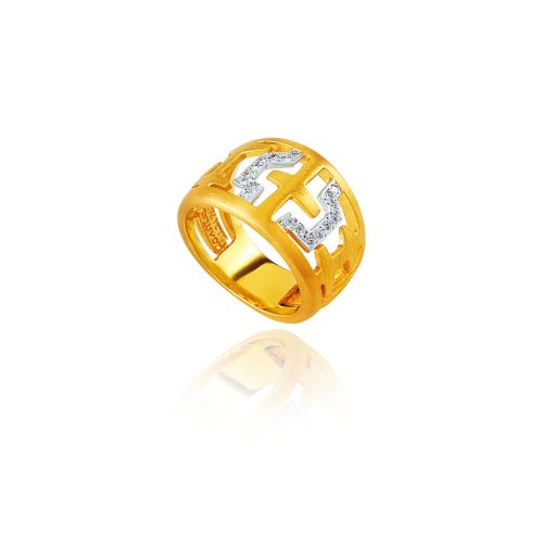 Entasis ring in 18KT yellow gold with diamonds