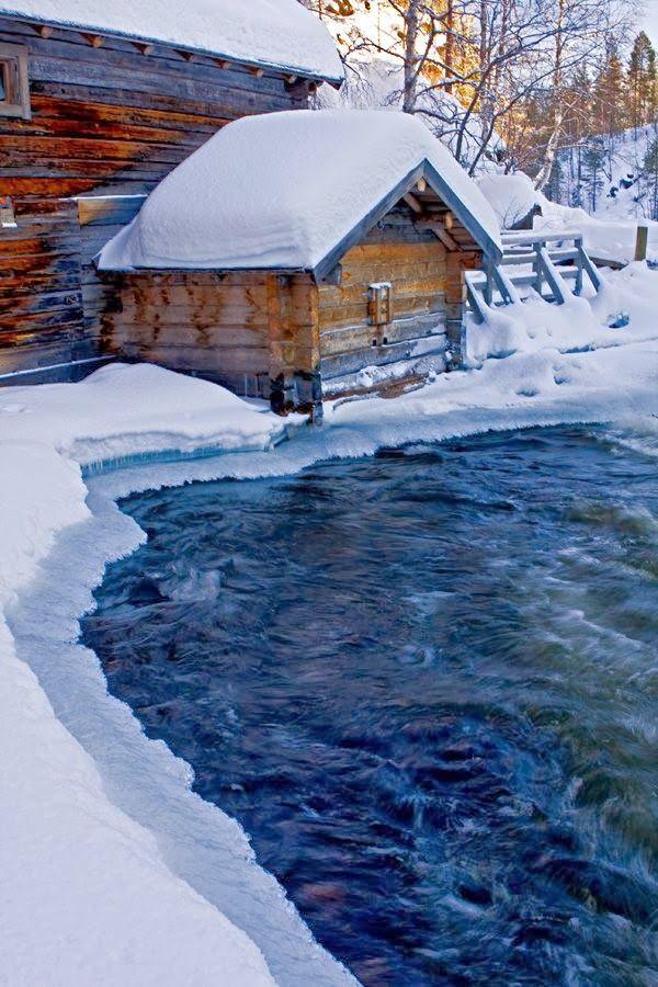 Myllykoski rapids in Kitkajoki river in Kuusamo, Finland