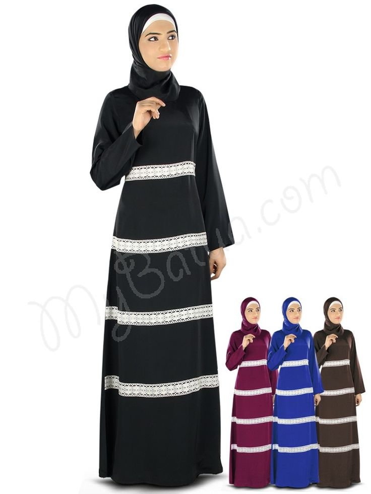 Beautiful Crochet Lace Black Party Wear Fara Abaya | MyBatua.com Style No : AY-327 Price : $49.10 Available Sizes XS to 7XL