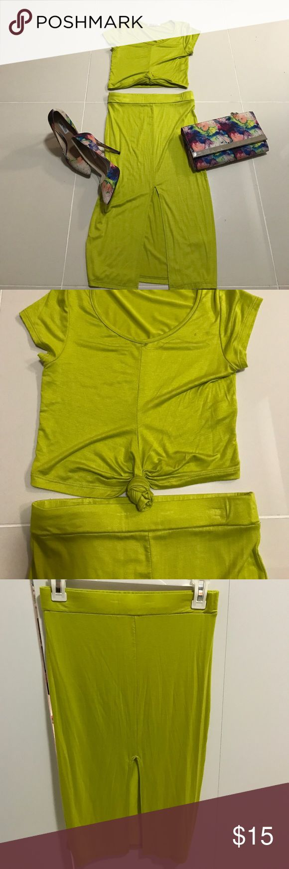 2 piece lime green skirt set 2 piece lime green skirt set. Crop top with knotted front tie. Never worn. Medium. Summer and spring appropriate. For a night out or dress it up with a blazer! Other