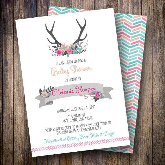 rustic antlers baby shower invitation floral antlers baby shower invite rustic baby shower