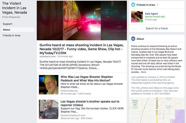 "In aftermath of Sunday evening's mass shooting in Las Vegas, visitors to Facebook's Crisis Response page for the tragedy should have found a cascading feed of community-posted news and information intended to ""help people be more informed about a crisis."" Instead, they discovered an algorithmic nightmare — a hodgepodge of randomly surfaced, highly suspect articles from spammy link aggregators and sites like The Gateway Pundit, which has a history of publishing false information. Indeed, at…"