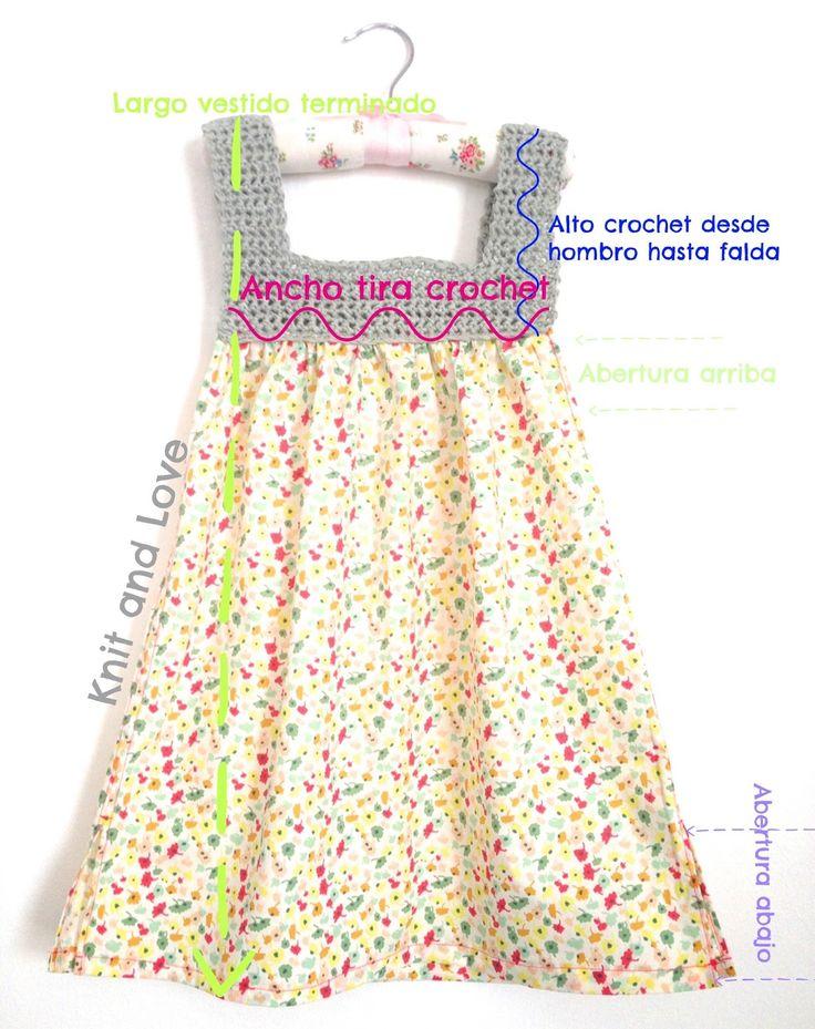 VESTIDO A CROCHET Y TELA MUY FÁCIL TALLA DE 1 A 6 AÑOS: Knit and Love