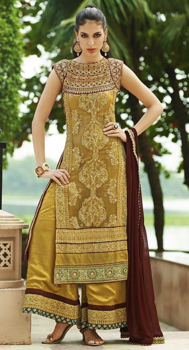 Unique Burgundy & Gold Colour Salwar Kameez