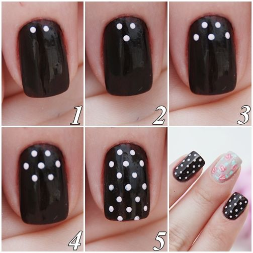 Black and White Polka Dots Nail Tutorial 2014 - Stylish So