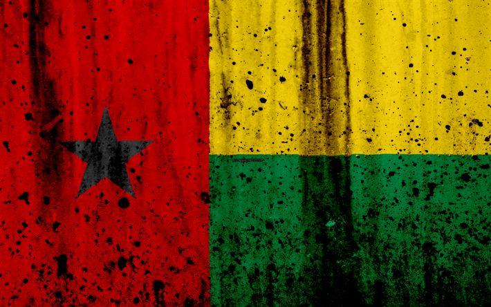 Download wallpapers Guinea-Bissau flag, 4k, grunge, flag of Guinea-Bissau, Africa, Guinea-Bissau, national symbols, Guinea-Bissau national flag