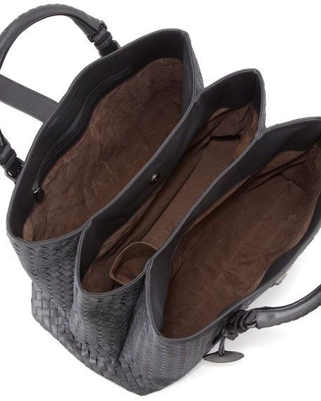 Roma Medium Woven Compartment Tote Bag, Charcoal
