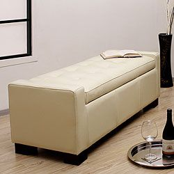 tufted leather storage bench creme - Leather Storage Bench