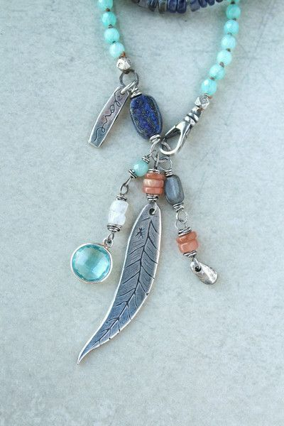 """Like the sky at dusk iolite fades into peach moonstone and amazonite with Luna's Original Fine Silver feather pendant and """"love"""" charm (doublesided). They are a"""