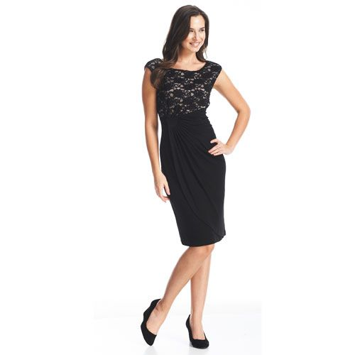 Connected Apparel Lace Bodice Side Drape Dress Clothing