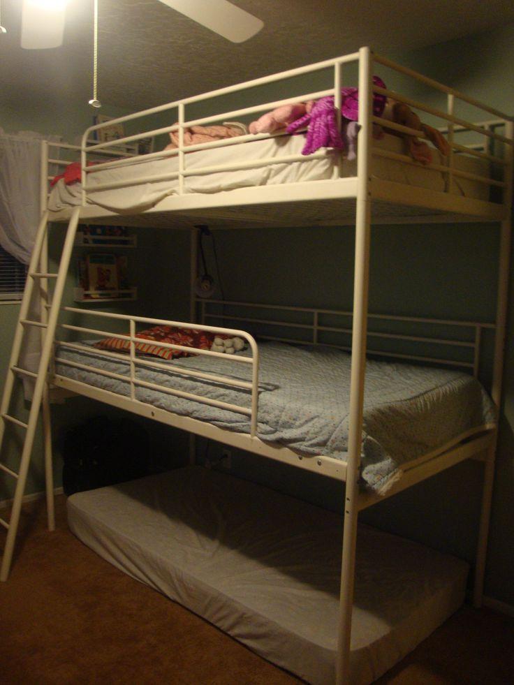 Diy triple bunk bed 2 ikea loft beds lodging for Triple bunk bed