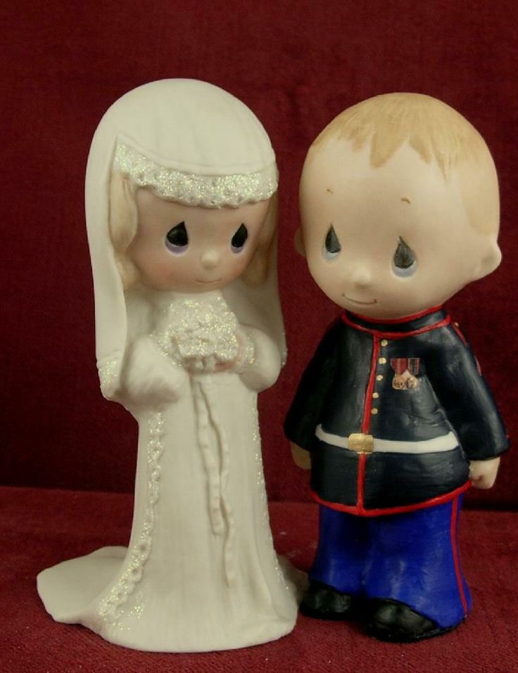 Precious Moments Marine wedding cake toppers.