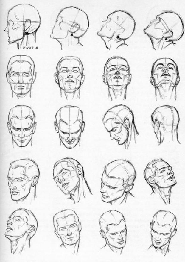 Drawing faces from different angles
