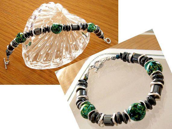 Hematite and Glass Bead Bracelet Art Deco Style by SunEnerChic