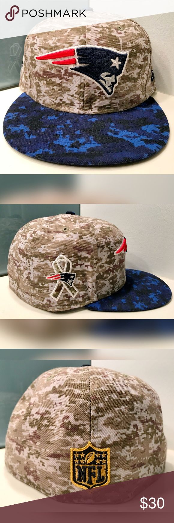 New Era New England Patriots Camo Fitted Hat 7 3/8 Salute To Service 2017, New Era Fitted Hat.  Digicam print.  Keep it 💯 New Era Accessories Hats