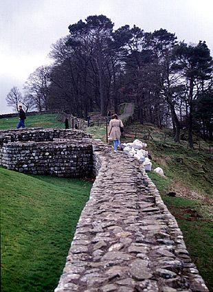Hadrian's Wall, England...constructed in 122 AD to mark the northern border of the Roman Empire in Britain, the wall stretched across the width of Great Britain just south of the present day border with Scotland.