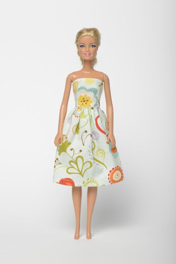 "Handmade Barbie doll clothes, Barbie dresses, Barbie outfit - ""Bird song"" floral Barbie dress (261)"