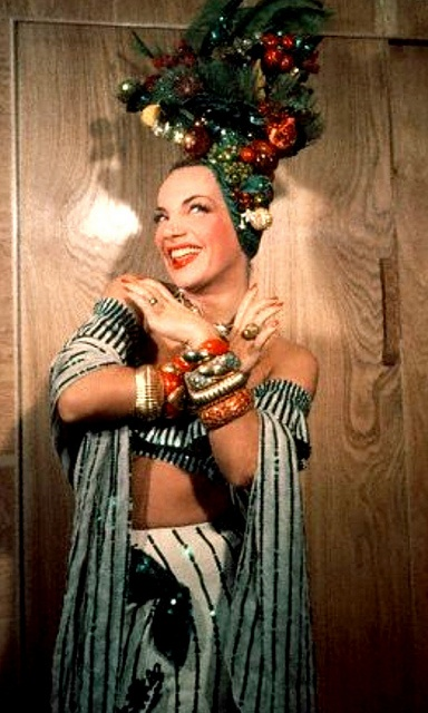 Carmen Miranda, between scenes on ''Doll Face'' 1945