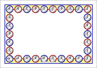 Clock faces A4 page borders (O'clock times) (SB9633) - SparkleBox