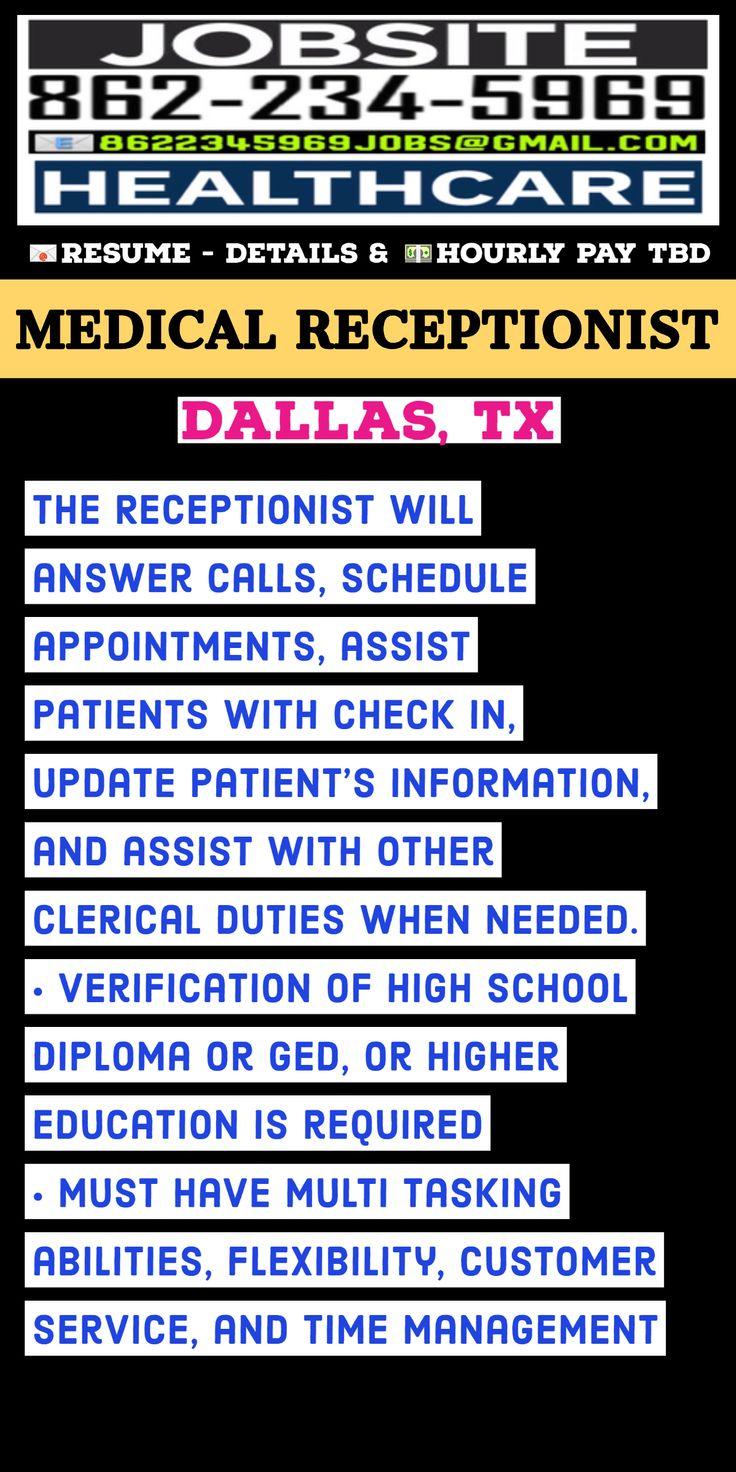 Medical receptionist dallas tx in 2020 medical