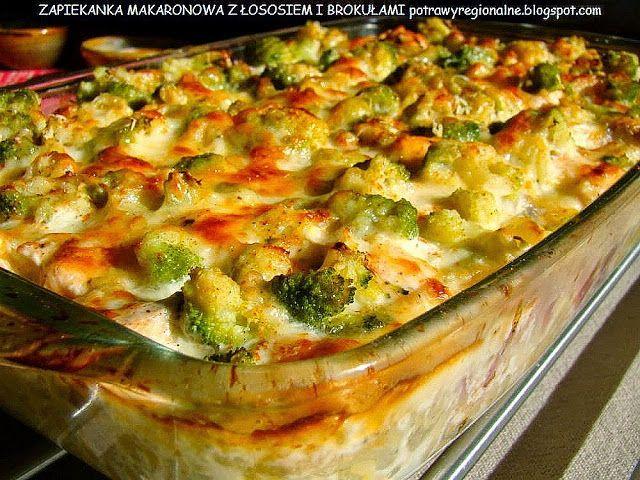 PotrawyRegionalne: ZAPIEKANKA Z MAKARONEM ŁOSOSIEM I BROKUŁAMI