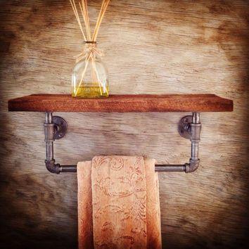 Industrial Shelf: Reclaimed Wood Shelf with Industrial Pipe Towel Holder - Home Decor - Bathroom Accessorie, Barn Wood Shelf