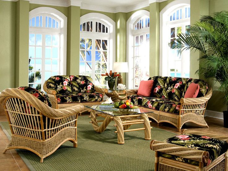 Maui Twist Indoor Wicker 5 Pc. Living Room Set From Spice Island Wicker  From American Part 70