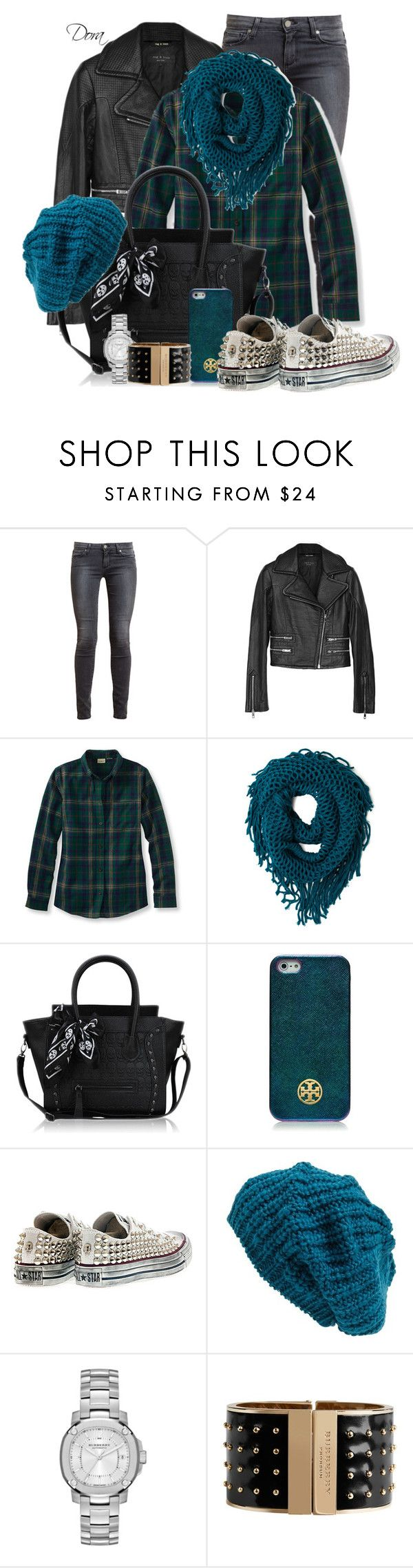 """Converse&turchese"" by doradabrowska ❤ liked on Polyvore featuring мода, Paige Denim, rag & bone, Tory Burch, Converse, Leith и Burberry"