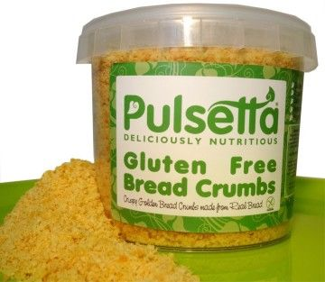 Pulsetta breadcrumbs are gluten-free and can be used in place of traditional breadcrumbs, in any recipe. Pulsetta breadcrumbs contain all of the natural health benefits of Pulsetta bread: they are suitable for vegetarians and vegans, 100% natural, full of vitamins and minerals, and due to their high volume of pulses contribute towards one of your 5-a-Day fruit and veg.