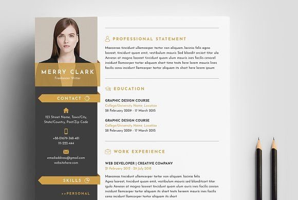 Modern Resume Template 3 Pages by Whitegraphic on @creativemarket