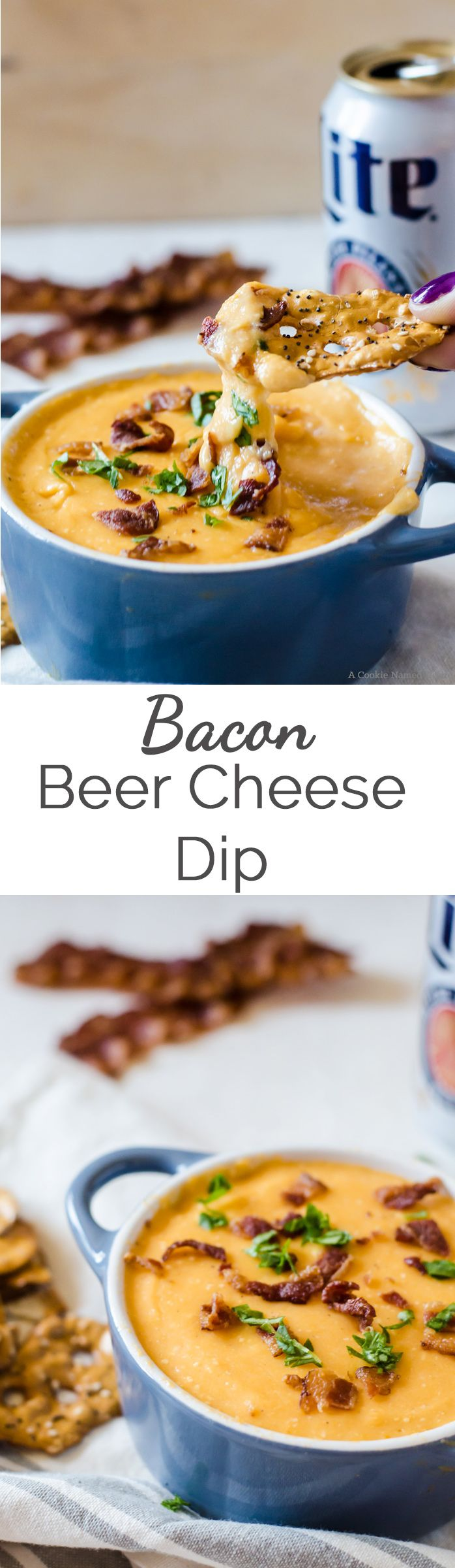 This bacon beer cheese dip will be a favorite among all your guests. This recipe is an easy appetizer that is done in no time!