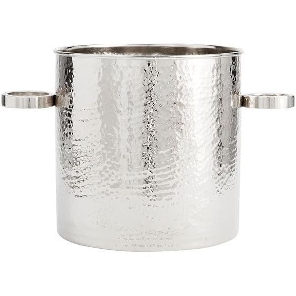Pottery Barn Hammered Nickel Ice Bucket ($49) ❤ liked on Polyvore featuring home, kitchen & dining, bar tools, hammered ice bucket, pottery barn champagne bucket, pottery barn wine bucket, wine chiller and pottery barn bar tools