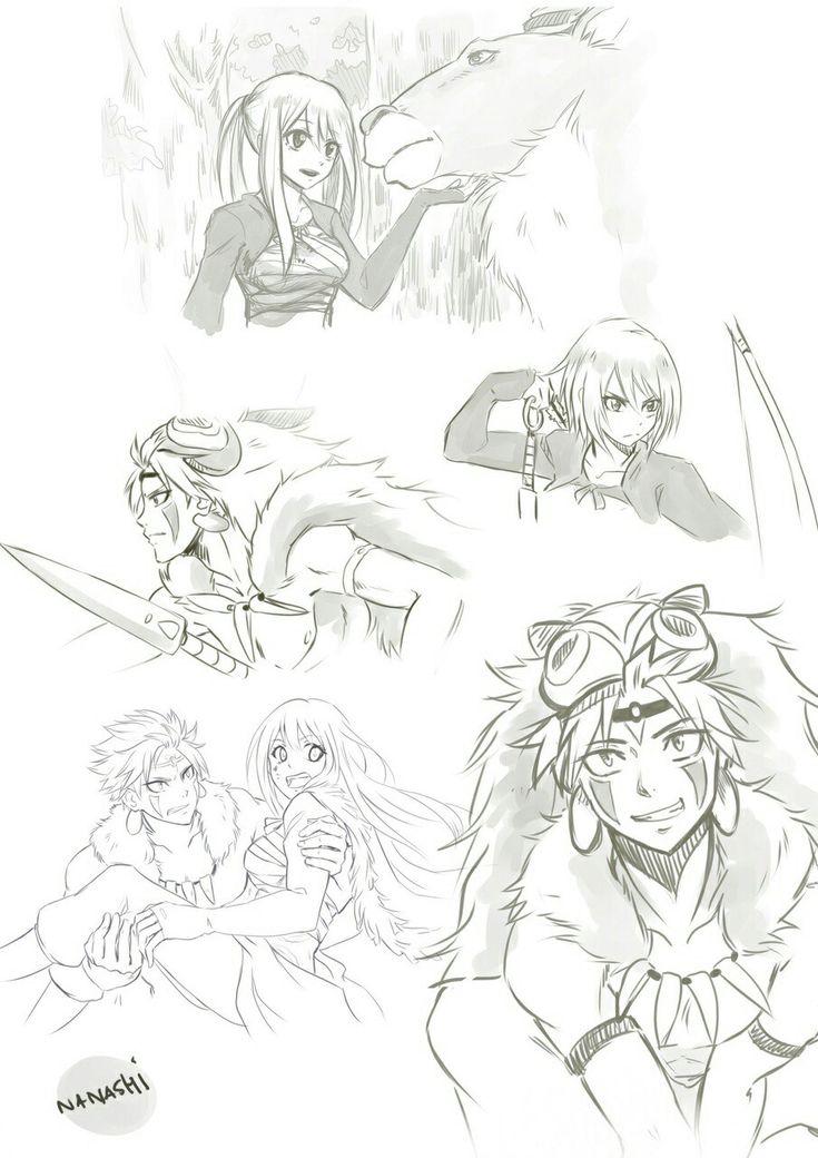 Fairy Tail (Nalu) x Princess Mononke