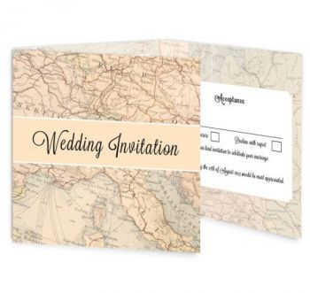 Around the World tri-fold wedding invitation. This wedding invitation design has a travelled inspired theme