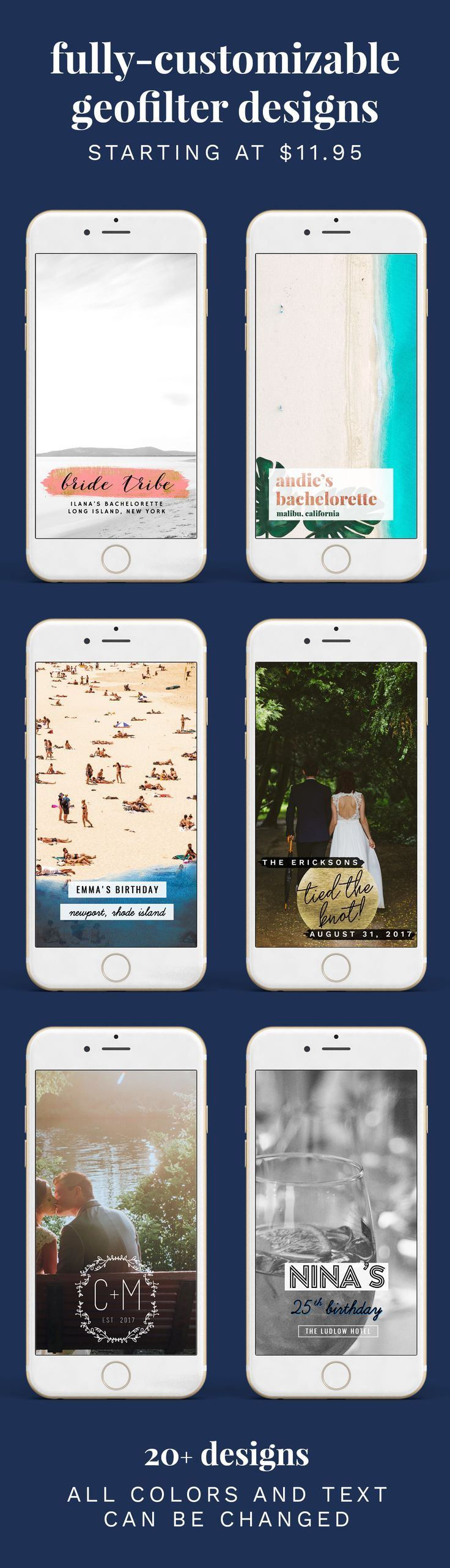 Snapchat Geofilter Designs that can be totally customized for weddings, bachelorette parties, birthdays or any event! xo https://www.etsy.com/shop/HaleyGrandDesigns