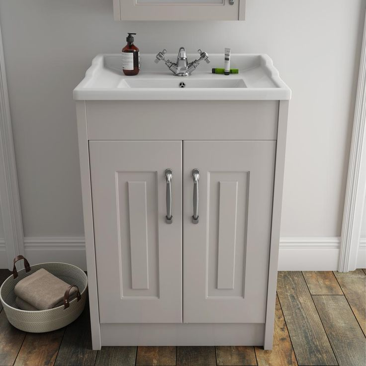 York Traditional Grey Bathroom Basin Unit 600 X 460mm
