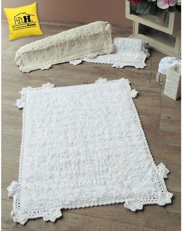 Tappeto bagno rettangolare Shabby Chic crochet Blanc Mariclo bianco