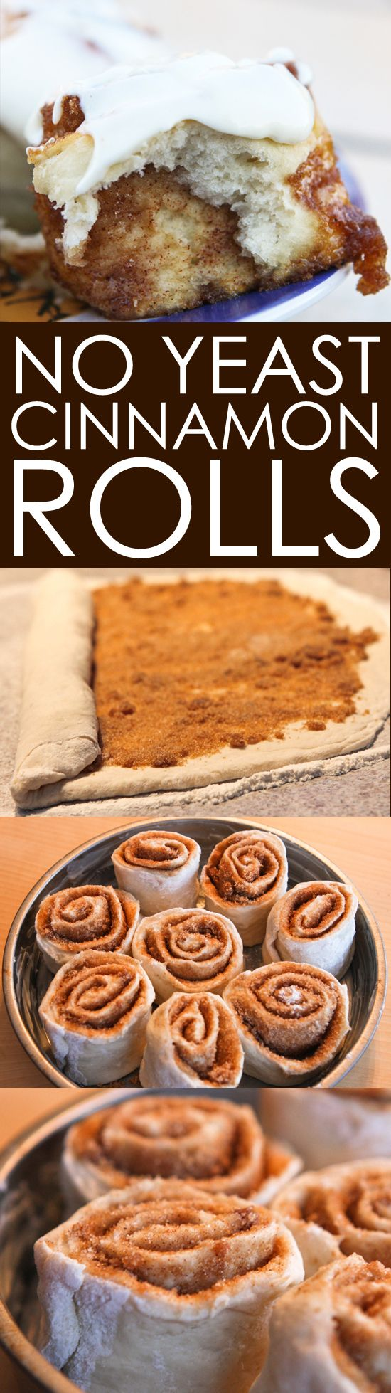 No Yeast Cinnamon Rolls | Ditch the yeast and make cinnamon rolls EASY!
