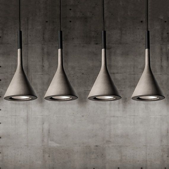 Concrete look handmade resin hanging ceiling pendant light. Come in white and gray $150
