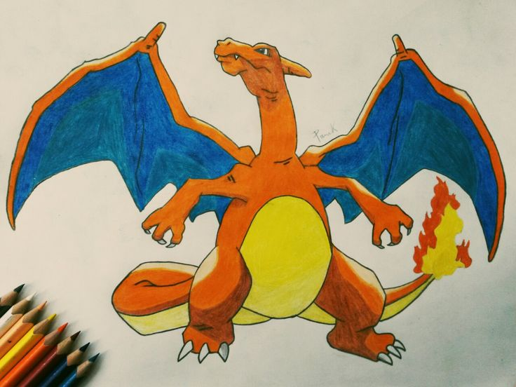 Charizard #charizard #pokemon #dragon #power #fire #sky #fly #fairytail #pokeball #pocketmonsters #animeart #geek #kawaii #cute #draw #drawing #art #paper #painting #colour #blueandorange